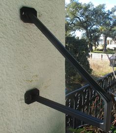 1 to 2 Step Modern Design Wrought Iron Grab Rail Stair Railing Handrail Step Rail Wall Mount Made in the USA Porch Handrails, Iron Handrails, Railings, Hand Railing, Wrought Iron Handrail, Stair Handrail, Garage Steps, Handicap Accessible Home, Colonial