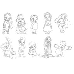 Disney Animators' Collection Sketches.  Oh God, they're so cute.