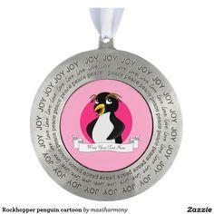 Rockhopper penguin cartoon round pewter christmas ornament