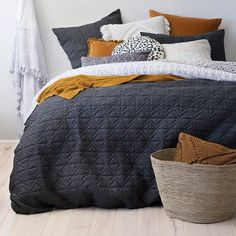 Inspiration Dark Grey Quilted Bedspread Throw Super King Size 250x270cm