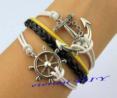 Antique anchor and anchor bracelet black and silver by eternalDIY, $3.99