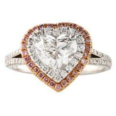 LEPOZZI 1.28 CT HEART SHAPE DIAMOND PLATINUM ENGAGEMENT RING