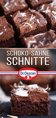 Heute gibt es wieder ein Rezept aus der Kategorie: Nachgemacht- Original trifft Sally! 😍 Viele von euch haben sich die Schoko Sahne Schnitte von Dr. Oetker gewünscht. Ich zeige euch, wie ihr sie ganz einfach selber zubereiten könnt 😘 Dazu wird zuerst ein schokoladiger Rührteig Kuchen gebacken, der nach dem Auskühlen mit einer Creme aus Sahne und Zartbitterkuvertüre bestrichen wird.  Viel Spaß beim Nachmachen 😘  #sallyswelt #schoko #schokoschnitte #sahneschnitte #schnitte #sallys #sahne… Let Them Eat Cake, Creme, Sweets, Cakes, Baking, Desserts, Food, Cooking, Poppy Seed Cake