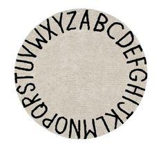 Washable Rug Round ABC Natural-Black #washablerugs #lorenacanals #abc #machinewashablerugs #kidsdecoration #rugsforkids