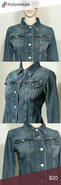 Sisley Made In Italy Dark Blue Womens Denim Jacket Size XS EXTRA SMALL - 100% Cotton In very good condition!! Very adorable!! A great gift!! Fast Shipping!! Sisley Jackets & Coats