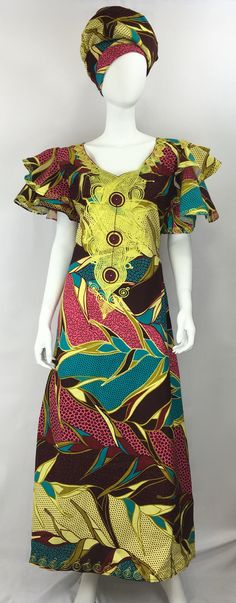 Ankara Goddess Gown in Pink, Turquoise and Yellow Short Sleeve Dresses, Dresses With Sleeves, Long Sleeve, Pink Turquoise, Ankara, Diva, African, Gowns, Yellow