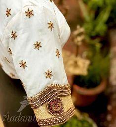 White Blouse Designs, Bridal Blouse Designs, Blouse Neck Designs, Sleeve Designs, Hand Work Blouse Design, Stylish Blouse Design, South India, India Fashion, Silk Sarees