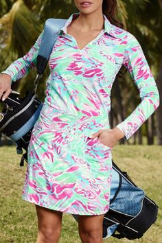 Icikuls Ibkul Icefil cooling fabric top is perfect for everything from daily wear travel and active sports to golf tennis and even equestrian riding. Features zippered polo collar mesh panel inserts under the sleeves for 2-way ventilation and have a contour cut bottom to flatter your figure. Provides UPF 50 sun protection rating to block 98% of harmful UV rays. Cooling Golf Polo by GLITZ & GLAM. Florida