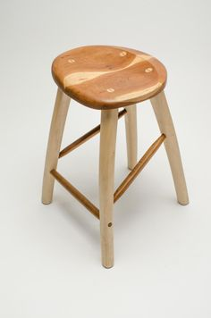fabianfischerhandcrafts Counter height stool in cherry and maple Handcrafted in Madison WI
