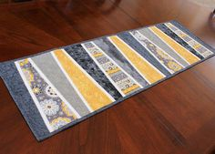 Modern Table Runner Quilt in Gray and Mustard Yellow