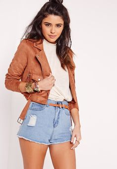 Missguided - Faux Suede Biker Jacket Rust $64.60