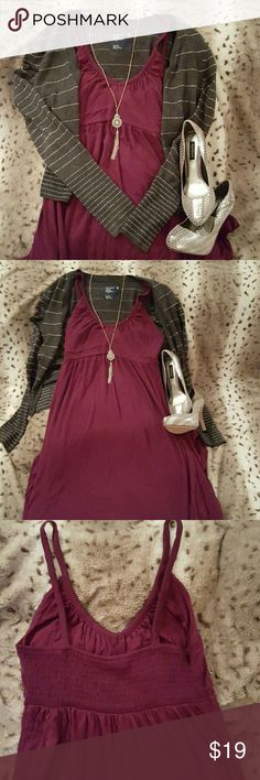 """Bold purple maxi dress Old Navy purple maxi dress. Beautifully pairs with many sweaters and heels. Measurement is 44"""" from waist to bottom, waist is 13"""" while laying flat. Material is super soft and comfy. Fits S/M. Per tag, 95% rayon, 5% spandex. Sweater, shoes, and necklace not included. Sweater and shoes available separately or create a bundle:) Old Navy Dresses Maxi"""