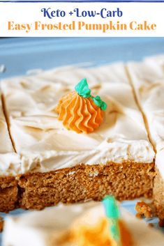 Keto Iced Pumpkin Cake. This deliciously messy homestyle sheet cake is low-carb and grain-free! #easyrecipes #ketocake #lowcarbdessert #grainfree #glutenfreepumpkin #falldesserts