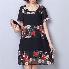 Hot saleFloral Patchwork Printed O-Neck Short Sleeve Loose Women Dresses Cheap - NewChic