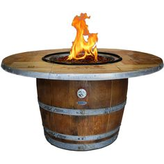 Enthusiast 42-Inch Wine Barrel Fire Pit Table By Vin De Flame - Chat Height - Vintage Table Top - 65,000 BTU Match Light Burner Vin De Flame Enthusiast 42-Inch Wine Barrel Fire Pit W/ 65,000 BTU Match Light Burner - Chat Height - Vintage Table Top