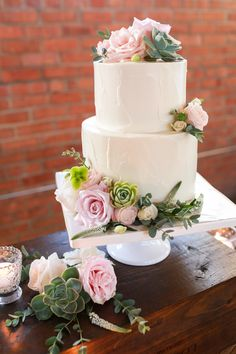 Simple Two-Tier Wedding Cake With Roses