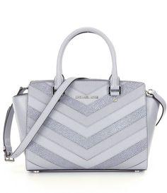 NWT MICHAEL Michael Kors Selma Gray Chevron Leather Top Zip Medium Satchel Bag #MichaelKors #Satchel