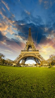 Eiffel Tower wide angle, Paris.