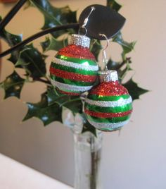 Christmas Earrings Green Red White Christmas Bulb by SmithNJewels, $13.00