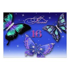 SWEET SIXTEEN BIRTHDAY INVITATIONS - BUTTERFLIES PERSONALIZED INVITATION