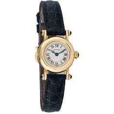Pre-owned Cartier Diablo Watch ($1,995) ❤ liked on Polyvore featuring jewelry, watches, blue, preowned watches, water resistant watches, 18 karat gold jewelry, preowned jewelry and blue watches