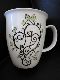 Mug Abstract Heart hand painted