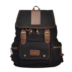 Jeansian Mode Unisexe Hommes Femmes Retro Toile Backpack Loisirs Canvas  Outdoor Voyage Sac BG005 Black  4053172e6fb