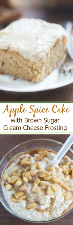Apple Spice Cake with Brown Sugar Cream Cheese Frosting with real apple chunks, a smooth and creamy frosting and all of your favorite fall flavors wrapped into one. This easy cake is one of our favorites! | Tastes Better From Scratch