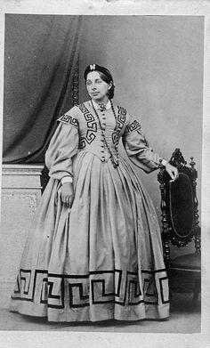 Dress with Greek styled trim
