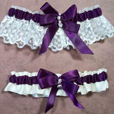 Wedding Garter Bridal Garter Set Plum on Ivory by EvertonCorners, $22.99