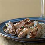 Spicy Apple-Glazed Chick 'n' Grits Gorgonzola Recipe | MyRecipes.com plus other entrees/Southern Living December 2014.