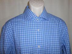 HUGO BOSS Plaid Dress Casual Shirt Blue SHARP FIT Men Size 17 32-33 Long Sleeve #HUGOBOSS