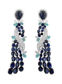 Silent Twist Earrings ~ white gold with sapphires, paraiba tourmalines & white diamonds. | Bosphorous Dreams