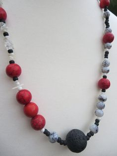 Long Black Lava Red Beadwork Necklace Lava by KBrownJewellery, £28.00  www.kbrownjewellery.etsy.com 20%SUMMER SALE