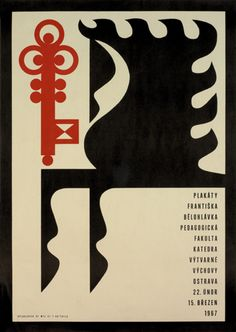 František Bělohlávek for poster exhibition of his work held in Ostrava, Czech Republic, February 1967 Graphic Design Posters, Graphic Design Typography, Graphic Design Illustration, Graphic Design Inspiration, Cover Design, Design Art, Print Design, Book Design, Layout Design