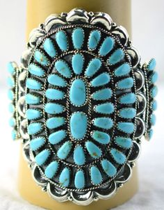 NAVAHO JUDE PERRY TURQUOISE SILVER CUFF