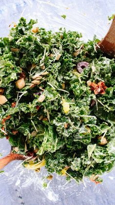 Eat your greens with this delicious and healthy Greek kale salad recipe!