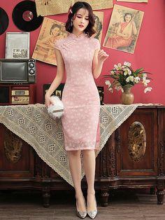 4ab47ce903a2 Pink 2019 Summer Midi Cheongsam   Qipao Party Dress. CheongsamTessutiAbiti  Da ...