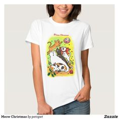 Meow Christmas Tshirts. A cute cartoon drawing of cats playing with Christmas ornaments. There are white angora cat,   calico cat, orange ginger tabby kitten, siamese cat and a black cat. Catcartoon #cutekitty #Christmascats #Christmaskitty #whiteangoracat #calicocat #orangegingertabbycat #siamesecat #blackcat #funnycats