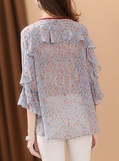 Shop for high quality Sweet Floral Print Lacing Blouse onlin Blouse Styles, Blouse Designs, Kurta Designs, Boho Bluse, Hijab Fashion, Fashion Dresses, Modele Hijab, Kurti Embroidery Design, Sleeves Designs For Dresses