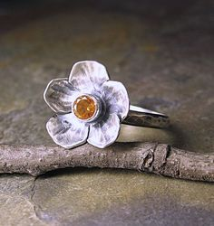 Sterling Silver Flower Ring  with Citrine - Summer Meadow.      ...from LavenderCottage on Etsy