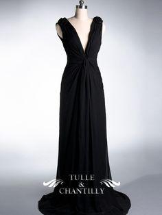 Sexy & Elegant Deep V-neckline Long Black Evening Dress