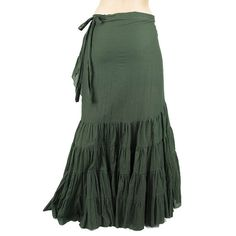 Long skirt gypsy, bohemian with large wheels on edges that folds on the belt, second layer inside in light coton.  This skirt is a wrap skirt, size can be adjusted infinitely small to 120cm waistline.  Long about 105 centimeters.  100% Coton .  Rafined for tribal dance or stage dance.  Exist in other colours, visit our ESTY shop.  Item from crafts, the color can be a little different according to the loads.   oO ------------------------------- oO   Visit our ESTY shop for more choices…