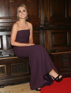 All grown up: The Irish actress looked incredible in her figure-hugging purple gown, which she set off with towering black suede heels and dramatic earrings
