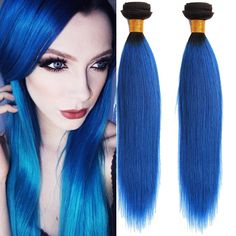 Stylish New Human Hair Extension Sliky Straight High Quality Blue Ombre Wefts #WIGISS #HairExtension