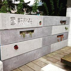Our new concrete fence at the shop. Yup concrete!