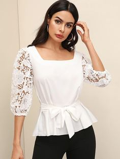 To find out about the Guipure Lace Sleeve Square Neck Belted Top at SHEIN, part of our latest Blouses ready to shop online today! Pop Fashion, Fashion News, Chic Outfits, Fashion Outfits, Trendy Suits, Sexy Blouse, Lace Sleeves, Blouse Designs, Blouses For Women