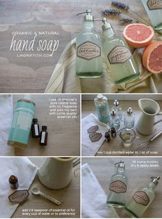 19 Great DIY Ideas for Homemade Cosmetics- Organic castile hand soap + printable labels