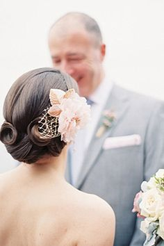 wedding hair. If you're inspired by vintage wedding details, borrow your hairstyle from a different decade, too, with curls and twists that would make any pin-up starlet jealous.  Side-parted hair in the sfront, curls in the back... - christa