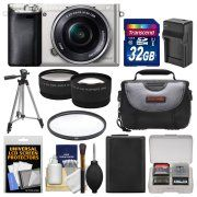 Sony Alpha A6000 Wi-Fi Digital Camera & 16-50mm Lens (Silver) with 32GB Card   Case   Battery/Charger   Tripod   Filter   Tele/Wide Lens Kit
